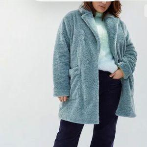 Anthropologie Maeve Lisanne Faux Fur Coat Size 1X